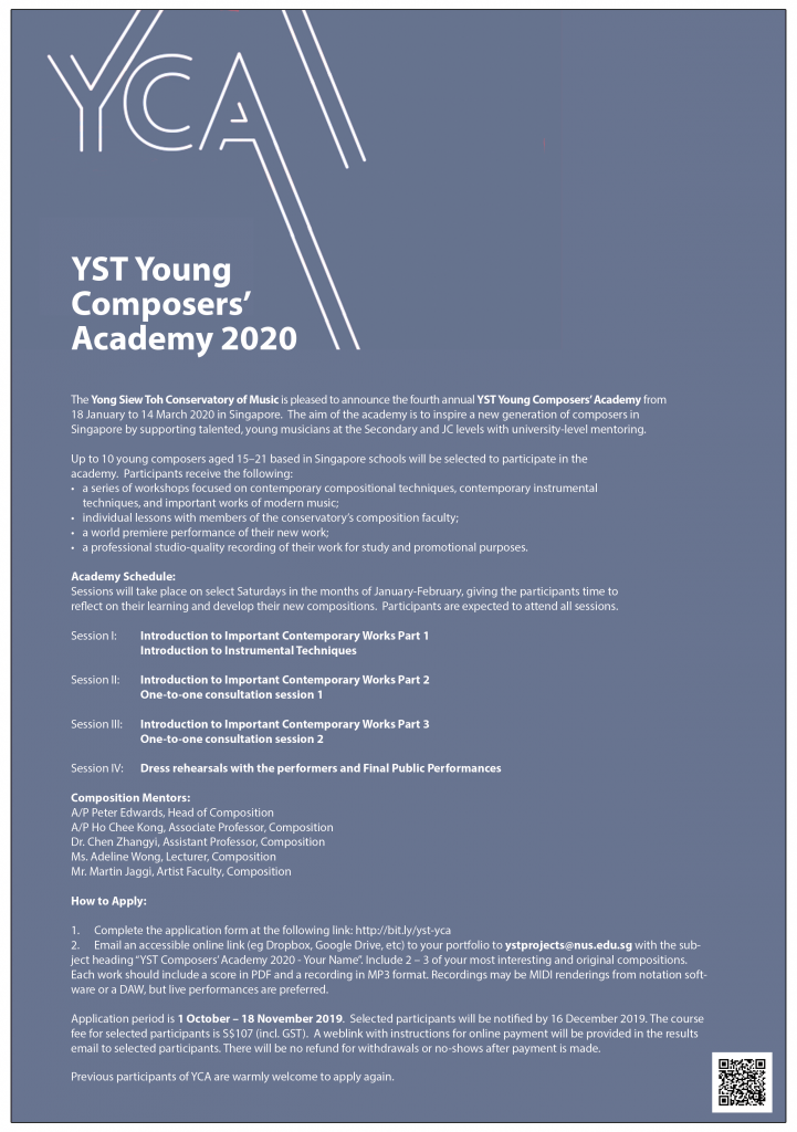 Poster for YST Young Composers Academy 2020